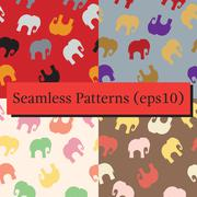 Seamless pattern with colorful elephants for textile, book cover, packaging. Stock Illustration