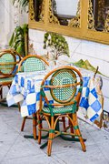 Restaurant in Little Italy Quarter, Manhattan, New York City, USA Stock Photos