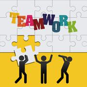 Pictograms puzzle teamwork support design Stock Illustration