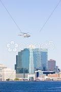 Helicopter above Manhattan, New York City, USA Stock Photos