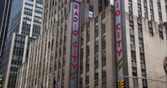 Static shot of Radio City Music Hall exterior in New York City Stock Footage