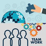 Pictograms puzzle teamwork support design Stock Illustration