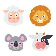 Animal emotion avatar vector icon Stock Illustration