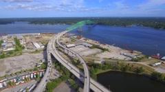 Aerial timelapse video of the Hart Bridge Expressway Stock Footage