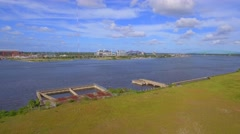 Aerial footage St. Johns River Jacksonville Stock Footage
