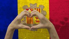 Hands Heart Symbol Andorra Flag Stock Photos