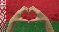 Hands Heart Symbol Belarus Flag Stock Photos