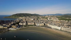 Aerial view of San Sebastian Concha Bay with Beach and Old Town, Spain Stock Footage