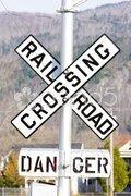 Railroad crossing, Gorham, New Hampshire, USA Stock Photos