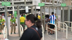 Ticket check station at Olympic stadium Rio 2016 Stock Footage