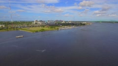 Aerial video Everbank Field Sports Complex Jacksonville Florida Stock Footage