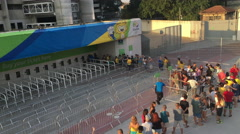 People in line to purchase Rio 2016 Olympic game tickets 4k Stock Footage