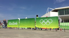 Olympics 2016 advertising banner in Rio de Janeiro 4k Stock Footage