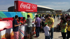 Coca Cola booth selling drinks to Olympic 2016 fans 4k Stock Footage