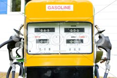 Detail of old petrol pump, New Hampshire, USA Stock Photos