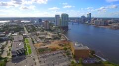 Aerial footage Downtown Jacksonville Florida Stock Footage