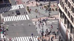 Large group of pedestrians and New York City traffic on street 4k Stock Footage