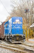 Train with motor locomotive, South Paris, Maine, USA Kuvituskuvat