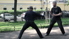 Outdoor Training with Combat Knifes Stock Footage