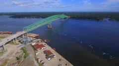 Aerial flyover video of the Hart Bridge Expressway Stock Footage