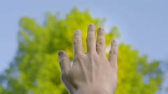 Close-up shot of keeping one hand up Stock Footage