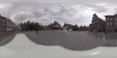 Square in the town Hoorn in Holland, Netherlands 360 video VR Stock Footage