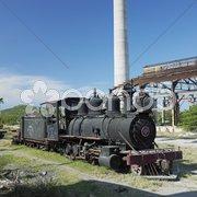 Steam locomotive Baldwin, Pepito Tey closed sugar factory, Cuba Stock Photos