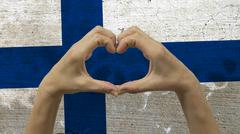 Hands Heart Symbol Finland Flag Stock Photos