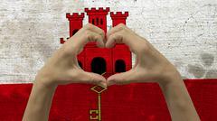 Hands Heart Symbol Gibraltar Flag Stock Photos
