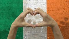 Hands Heart Symbol Ireland Flag Stock Photos