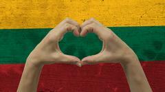 Hands Heart Symbol Lithuania Flag Stock Photos