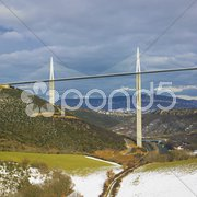 The highest bridge in the world, Millau, France Stock Photos