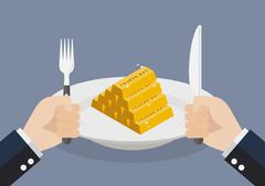 Businessman eating gold ingots Stock Illustration