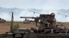 Soldiers shoot on the battlefield Stock Footage