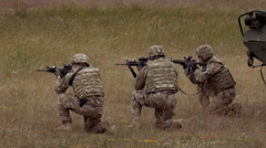 Group of soldiers shoot Stock Footage