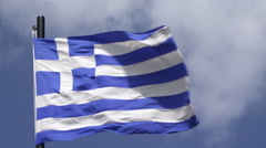 Greece National Flag Waving On Flagpole On Blue Sky Background Stock Footage