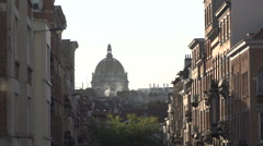 City scape Brussels with roofs of many houses and buildings at evening Stock Footage