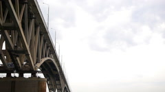 A boat trip on the river under the bridge Stock Footage
