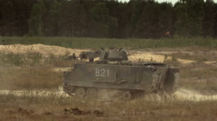 Soldiers drive a military vehicle Stock Footage