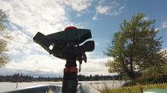 Sprinkler Head on the Lake Stock Footage