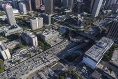 Downtown Los Angeles Harbor 110 Freeway Aerial Stock Photos