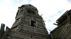 Belfry in the old destroyed wooden church Stock Footage