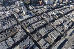 Afternoon aerial of downtown Los Angeles Rooftops Stock Photos