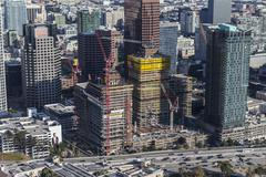 Los Angeles Downtown South Park Construction Aerial Stock Photos