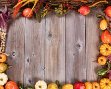 Complete border of autumn gourd decorations on rustic wooden boards Stock Photos