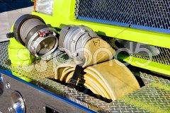 Fire engine''s detail - hose, Miami, Florida, USA Stock Photos