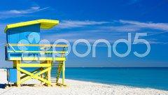Cabin on the beach, Miami Beach, Florida, USA Stock Photos