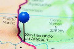 San Fernando de Atabapo pinned on a map of Venezuela Stock Photos