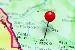 San Custodio pinned on a map of Venezuela Stock Photos