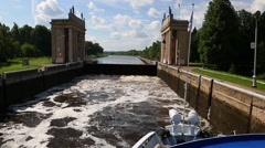 Gateway is filled with water. Gateway of the Moscow Canal Stock Footage